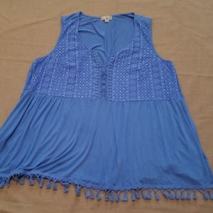 Live and Let Live tassel trimmed sleeveless top 3X